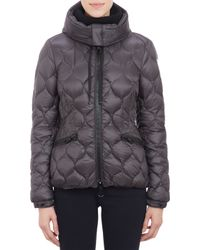 Moncler Honeycomb Pattern Quilted Hooded Gres Jacket - Lyst