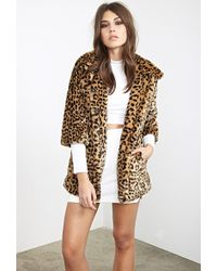 Forever 21 Faux Fur Cheetah Coat - Lyst
