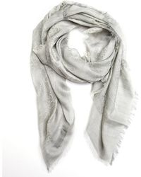 Gucci Silver Silk and Wool Blend Semi Sheet Gg Print Scarf - Lyst