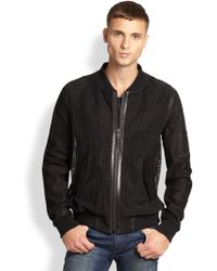 BLK DNM Perforated Leather Bomber Jacket - Lyst