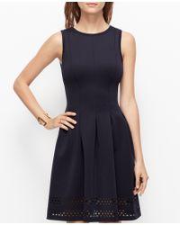 Ann Taylor Blue Laser-Cut Dress - Lyst