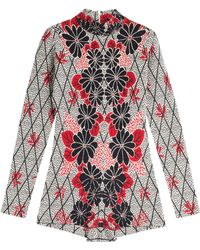 Maison Margiela Silk-Wool Printed Romper - Lyst
