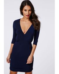 Missguided Gemma Slinky Deep V Ruched Side Bodycon Dress Navy - Lyst