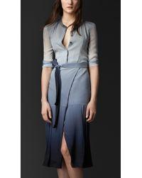 Burberry Dégradé Silk Wrap Dress - Lyst