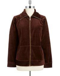 Jones New York Brown Velour Sweatshirt - Lyst