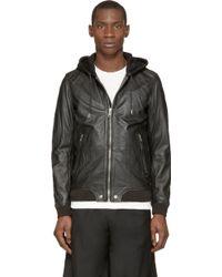 Diesel Black Leather L_Akura Hoodie - Lyst