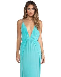 Indah River Silk Crepe Split Front Wrap Side Maxi Dress with Adjustable Tie Back in Green - Lyst