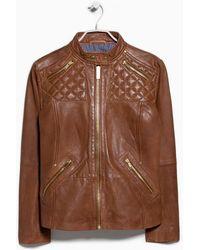 Violeta by Mango Biker Leather Jacket - Lyst