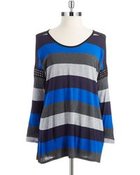Two By Vince Camuto Blue Striped Top - Lyst