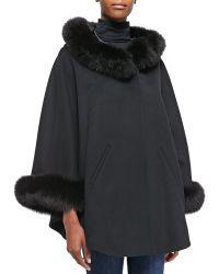 Sofia Cashmere Cape W Fur-trimmed Hood and Cuffs gray - Lyst