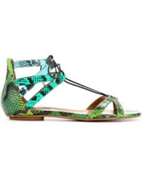 Aquazzura Beverly Hills Snakeskin Sandals - Lyst