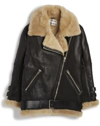 Acne Studios Shearling/ Leather Jacket black - Lyst