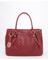 Gucci Scarlet Red Leather Ssima Pattern Top Handle Tote - Lyst