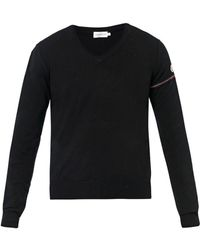 Moncler Black Vneck Wool Sweater - Lyst