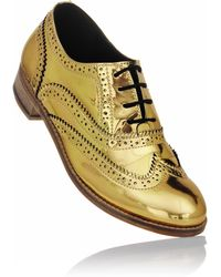 Luke Grant-muller Women'S Chrome Gold Metallic Brogue Shoes - Lyst