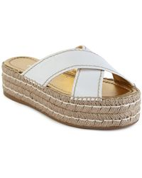 Prada | Leather Double Platform Espadrille Slide Sandals | Lyst