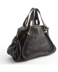 Chloé Black Leather Paraty Convertible Satchel - Lyst