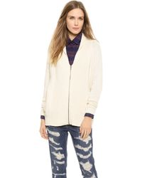 Splendid Michigan Avenue Zip Cardigan - Cream - Lyst