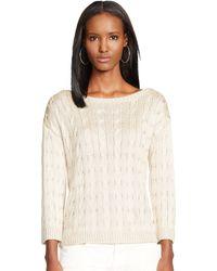 Ralph Lauren Black Label Cable-Knit Silk Sweater - Lyst