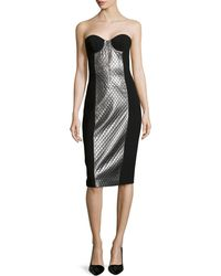 Michael Kors Lame-Panel Strapless Dress - Lyst