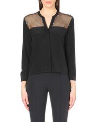 Sandro Jewel Embellished Silk Shirt - Lyst
