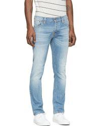 Nudie Jeans Blue Faded Grim Tim Jeans - Lyst