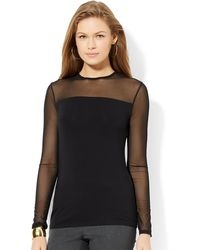 Lauren by Ralph Lauren Mesh Yoke Crewneck Top - Lyst