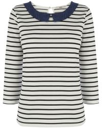 Oasis Chambray Collar Stripe Three Quarter Sleeve Top - Lyst