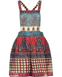 Topshop Mixed Print Dungarees By Band Of Gypsies - Lyst