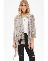 Love 21 Open-Front Fringed Cardigan - Lyst