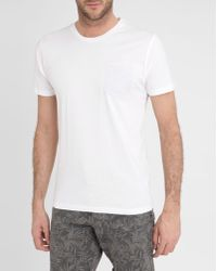 Selected White Round-Neck Short-Sleeved Pocket T-Shirt - Lyst