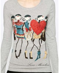 Love Moschino Model T-shirt with Long Sleeves - Lyst