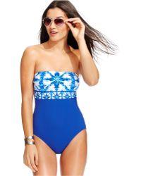 Michael Kors Michael Printed Bandeau One-Piece Swimsuit blue - Lyst