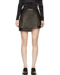 Helmut Lang Black Leather Petal Skirt - Lyst