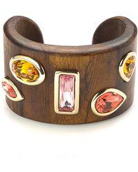 Oscar de la Renta | Wooden Crystal Bracelet | Lyst