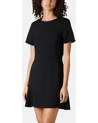 Topshop Flared Crepe Dress black - Lyst