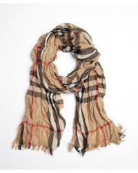 Burberry Beige and Black Wool and Cashmere Camel Check Crinkle Scarf - Lyst
