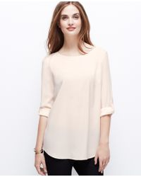 Ann Taylor Crepe Roll Sleeve Top - Lyst