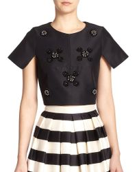 Tibi Cluster Beaded Satin Crop Top - Lyst