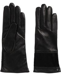 HUGO - Leather Gloves With Cowhide Trim: 'dh 69' - Lyst