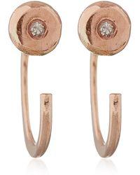 Melissa Joy Manning - Rose Gold White Diamond Hug Earrings - Lyst