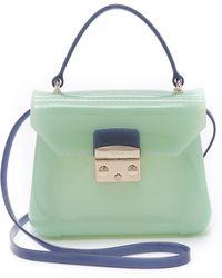 Furla Candy Bon Bon Mini Bag - Ice Blue/Indigo green - Lyst