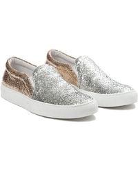 Joshua Sanders Glitter Sneakers silver - Lyst