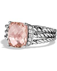 David Yurman Petite Wheaton Ring with Morganite and Diamonds