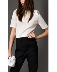 Burberry Bow Shoulder Mercerised Cotton Top - Lyst
