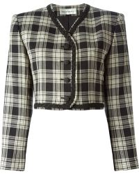 Yves Saint Laurent Vintage Checked Cropped Jacket - Lyst