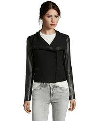 Vince Black Wool Blend Leather Detail Boucle Scuba Jacket - Lyst