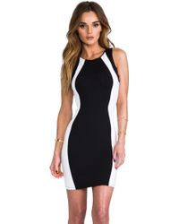 David Lerner Sleeveless Colorblock Mini Dress in Black - Lyst