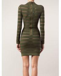 Balmain Sheer Stripe Fitted Dress - Lyst