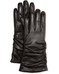 Grandoe - Ruched Leather Tech Gloves - Lyst